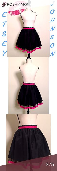 "Satin Layered Tutu Skirt 🎀 Beautiful mini skirt by Betsey Johnson. Black satin with a hot pink ribbon trim. Black tulle underneath with a hot pink ribbon at the bottom. Two pockets on the front. Hook and eye clasp with a zipper on the size. 13"" w x 18"" l. Dress form measurements: Chest 34"" x Shoulders 36"" x Waist 27"" x Hips 36.5"" x Neck 12.5"" Betsey Johnson Skirts Mini"