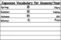 Japanese Seasons of the Year