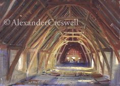 painting by Alexander Creswell of a barn in France - looks like a good place to practice sword play :)