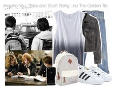 """""""Imagine You, Stiles and Scott Being Like The Golden Trio"""" by fandomimagineshere ❤ liked on Polyvore featuring Levi's, H&M, adidas and Aéropostale"""