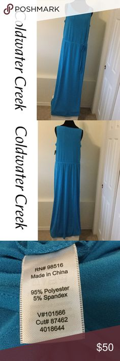"""VERY LONG Drawstring Maxi Dress Very long Maxi dress. Measures 61"""" in length and 20"""" across from armpit to armpit and those measurements were taken without stretching the material at all. This material has a lot of stretch to it. Coldwater Creek Dresses Maxi"""