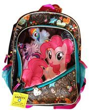 """My Little Pony Large 16"""""""" Cloth Backpack - Black with Designs"""