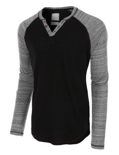 This long sleeve color block henley t-shirt will fabulously assist your…