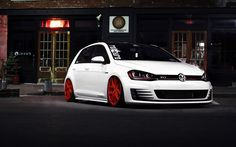 Volkswagen Golf GTI, tuning, 2016 cars, hatchback, white golf, Volkswagen
