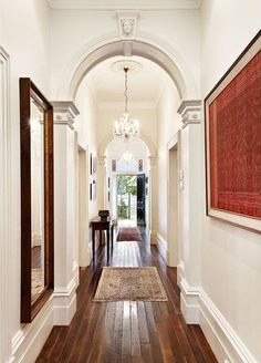 Marvelous Hardwood Floors Hallway Remodel To Maximize Your Home Interior Design - My Dream House White Rooms, White Walls, White Bedroom, Style At Home, Halls, Long Hallway, Bright Hallway, White Hallway, Hallway Colours