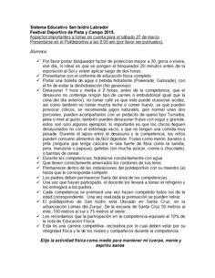 Recomendaciones para el Festival de Pista y Campo.