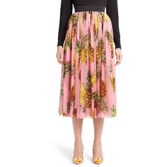 Women's Dolce&gabbana Pineapple Print Pleated Midi Skirt (£1,440) ❤ liked on Polyvore featuring skirts, pineapple prnt, pineapple print skirt, red skirt, dolce gabbana skirt, calf length skirts and midi skirt