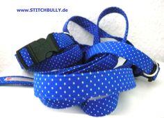 Halsband Leine Set Blaues Gefühl in M - 2cm breit von stitchbully.de macht buntes für Hunde auf DaWanda.com