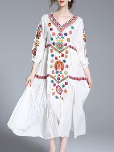 White Vintage V Neck Floral-embroidered Midi Dress