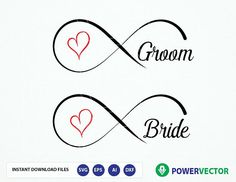Bride and Groom cut file design. Couple hubby, wifey, husband and wife forever. Infinity Heart, Simple Prints, Letter Size Paper, Romantic Love Quotes, Silhouette Designer Edition, Bride Groom, Cutting Files, Card Making, Husband