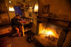 Nothing like a hut with a warm fire after a day's tramp. Cabins, Fire, Country, Interior, Home Decor, Shelters, Decoration Home, Rural Area, Room Decor
