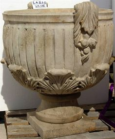 #stone #planters #vases #hand #carved #antique #limestone