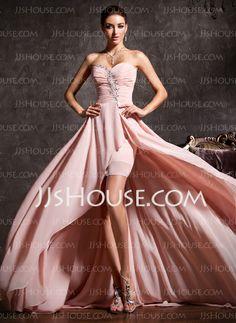 Vestidos de baile - $140.49 - Vestidos princesa/ Formato A Coração Assimétrico De chiffon Vestido de baile com Pregueado Perolização (018020814) http://jjshouse.com/pt/Vestidos-Princesa-Formato-A-Coracao-Assimetrico-De-Chiffon-Vestido-De-Baile-Com-Pregueado-Perolizacao-018020814-g20814