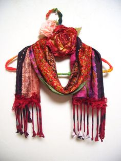 RE-Cycled Sari Silk Patchwork Ethnic Bohemian Multi Color Scarf (Sunset)