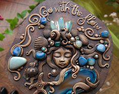 Original Artist Mermaid Fantasy Deer Keepsake Jewerly epoxy clay box ooak - Blue agate