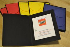 Lego party invites..black notecards with printed information inside circle cut outs on the front