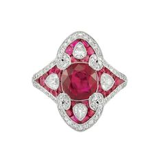 Art Deco Platinum, Ruby and Diamond Ring, circa 1920.