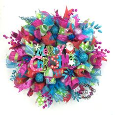 Whimsical Christmas Wreath in Turquoise Hot Pink Lime Green w Merry Christmas Santa Sign Deco Mesh Wreath Christmas by SouthernCharmWreaths $164.87 USD