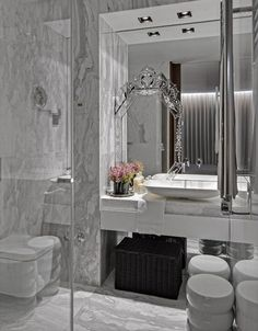 Stunning Bathroom! Great detail - Mirror on Mirror.