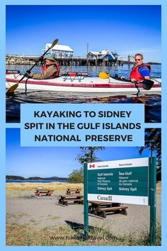 Kayaking to Sidney Spit in BC's Gulf Islands - is a great day trip but you can camp overnight in Gulf Islands National Preserve Canoe Trip, Canoe And Kayak, Parcs Canada, Travel Picture, Victoria Vancouver Island, Visit Canada, Kayak Camping, Whitewater Kayaking, Nocturne