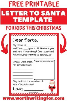 Fun Free Printable Santa Letter Template for Kids! Kids can use this cute Santa letter template to send Santa their wish list this year! It's a free printable Santa letter that makes it easy and fun to send Santa a wishlist. Plus learn how you can send their later to the North Pole AND get a response! #santaletter #santalettertemplate #santaletterprintable #Christmas #lettertosanta Letter Template For Kids, Free Printable Santa Letters, Santa Template, Letter Templates, Free Printables, Christmas Crafts For Kids, Family Christmas, Christmas Decorations, North Pole