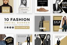awesome Fashion Social Banner Pack 3  CreativeWork247 - Fonts, Graphics, Theme...