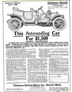 1909 Chalmers-Detroit Automobile Advertisement