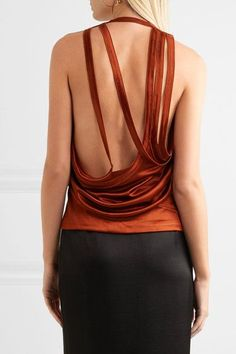 Atlein - Open-back Draped Metallic Satin Top - Brick - FR