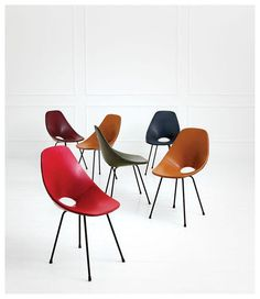 Vittorio Nobili; Skai-Upholstered Molded Plywood and Enameled Metal 'Medea' Chairs for Fratelli Tagliabue, 1950s.