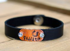 Hand Metal Stamped Leather Cowgirl Bracelet.