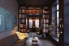 Janson Goldstein created this richly appointed library for a penthouse in Manhattan's Chelsea neighborhood. Photo by Mikiko Kikuyama.