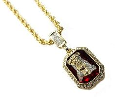 Mens iced out gold sapphire pendant 24 30 rope chain necklace jesus over ruby pendant necklace with 24 rope chain in 14k gold finish aloadofball Gallery