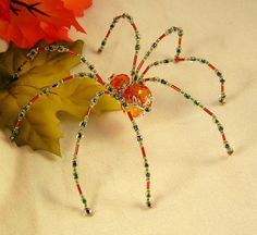 Autumn Orange Crystalline Beaded Spider Ornamental by PKJcreations, $20.00