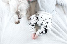 """These Organic Cotton baby leggings feature unique West Highland Terrier print so your baby wears new leggings with the image of their favorite dog. We named them """"Cosmos"""", inspired our adorable Westie./ West Highland Terrier Organic Baby Leggings, Westie Dog Baby Gifts, Organic Baby Trousers, Dog Themed Birthday Party, Unisex Baby Clothes West Highland Terrier, Baby Shower Themes, Baby Shower Gifts, Westie Dog, Toddler Pants, Dog Baby, Organic Baby, Organic Cotton"""