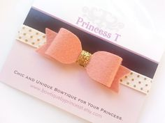 Girls/Baby Headband Grapefruit Felt Bow by BowtiquebyprincessT