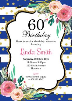 Graduation invitation for girls graduation party invitation high 70th birthday invitation black white gold pink floral women birthday invitation surprise birthday custom invitation digital file a11 stopboris Image collections