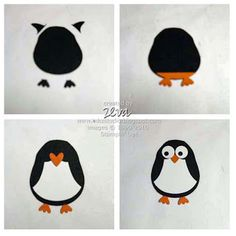 "By Zeva. How to make a penguin using the Stampin' Up ""Owl Builder"" punch. Owl Punch Cards, Stampin Up, Paper Punch Art, Owl Card, Craft Punches, Animal Cards, Card Tutorials, Kids Cards, Baby Cards"