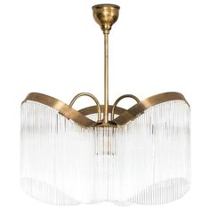 Rare Art Deco Ceiling Lamp in Brass and Glass