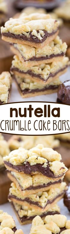 Nutella Crumble Cake Bars - this easy cake mix recipe is a bar cookie filled with NUTELLA!! Is there anything better?