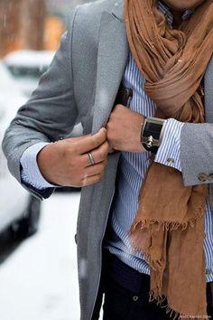 Men's Grey Blazer, White Vertical Striped Long Sleeve Shirt, Tobacco Scarf