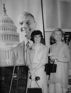 Rene Carpenter - wife of Astronaut Scott Carpenter (right), Annie Glenn - wife of Astronaut John Glenn who is shown in his Congressional photo (left)