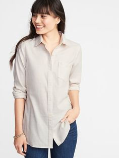 3b7985b3d24658 Relaxed Twill Tunic Shirt for Women