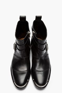 #BALMAIN Black Leather Steel Capped Buckled Boots #Mens