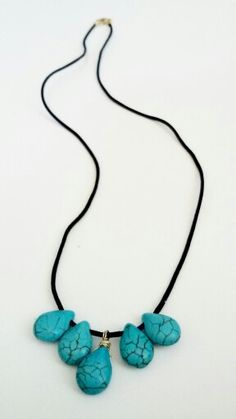 Ave Ernesto T. Turquoise Necklace, Beaded Necklace, Jewelry, Fashion, Black Leather, Rocks, Moda, Pearl Necklace, Bijoux