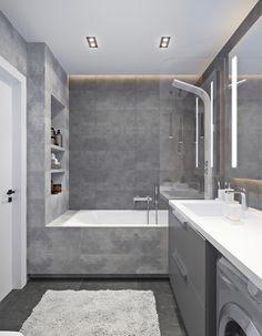 Wood-concrete duo on Behance Small Bathroom Interior, Condo Bathroom, Bathroom Design Luxury, Modern Bathroom Design, Black Bedroom Design, Home Room Design, Ideas Baños, Cheap Bathroom Remodel, Toilet Design
