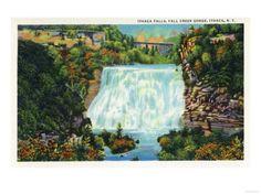 Ithaca, New York - Fall Creek Gorge View, Ithaca Falls Scene Premium Poster