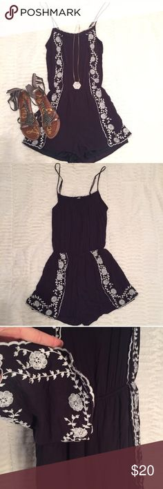 Romper Navy blue romper with white floral embroidery detail. Adjustable straps. pixi & ivy Shorts