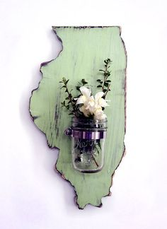 ALL STATES AVAILABLE WITH THIS VASE. All of our creations are cut, sanded and painted with our own hands. A final coat of varnish finishes the piece to give it protection and durability. We love to create fun and unique pieces for your home. These make perfect gifts for anyone.    Dimensions of I...