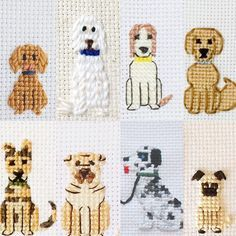 """69 Likes, 6 Comments - Cross Stitch Portraits (@familystitch) on Instagram: """"Which dog is your favorite...? Don't forget to include your furry children """""""