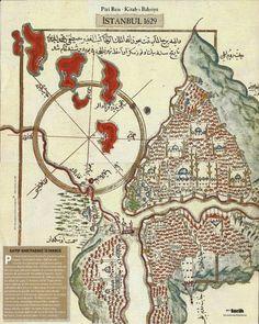 Map of Istanbul, 1629 by Piri Reis - Piri Reis tarafından hazırlanmış bir İstanbul Haritası, 1629